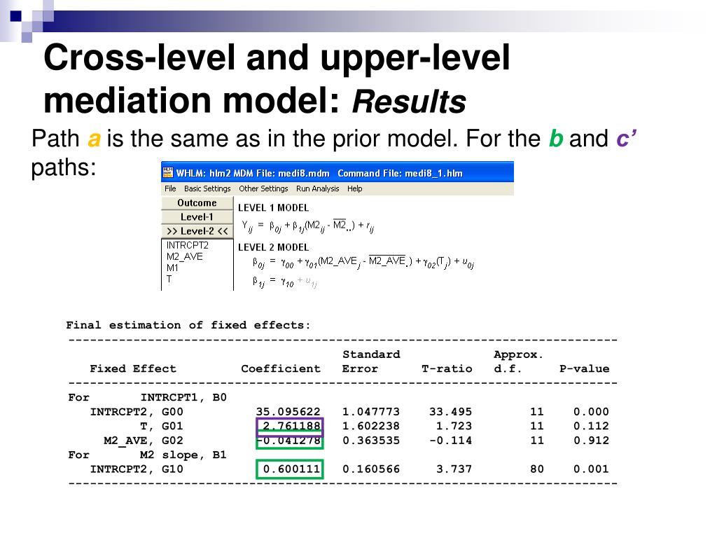 Cross-level and upper-level mediation model: