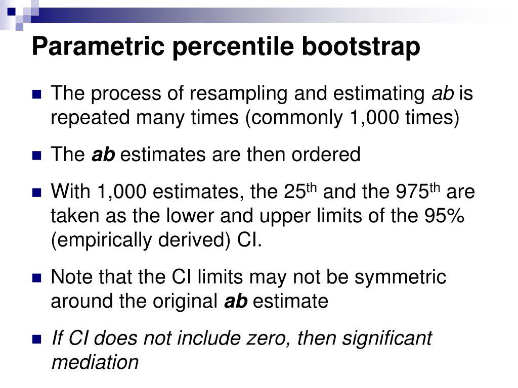 Parametric percentile bootstrap