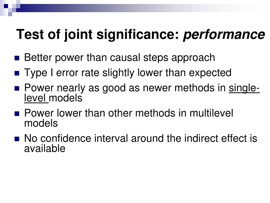 Test of joint significance: