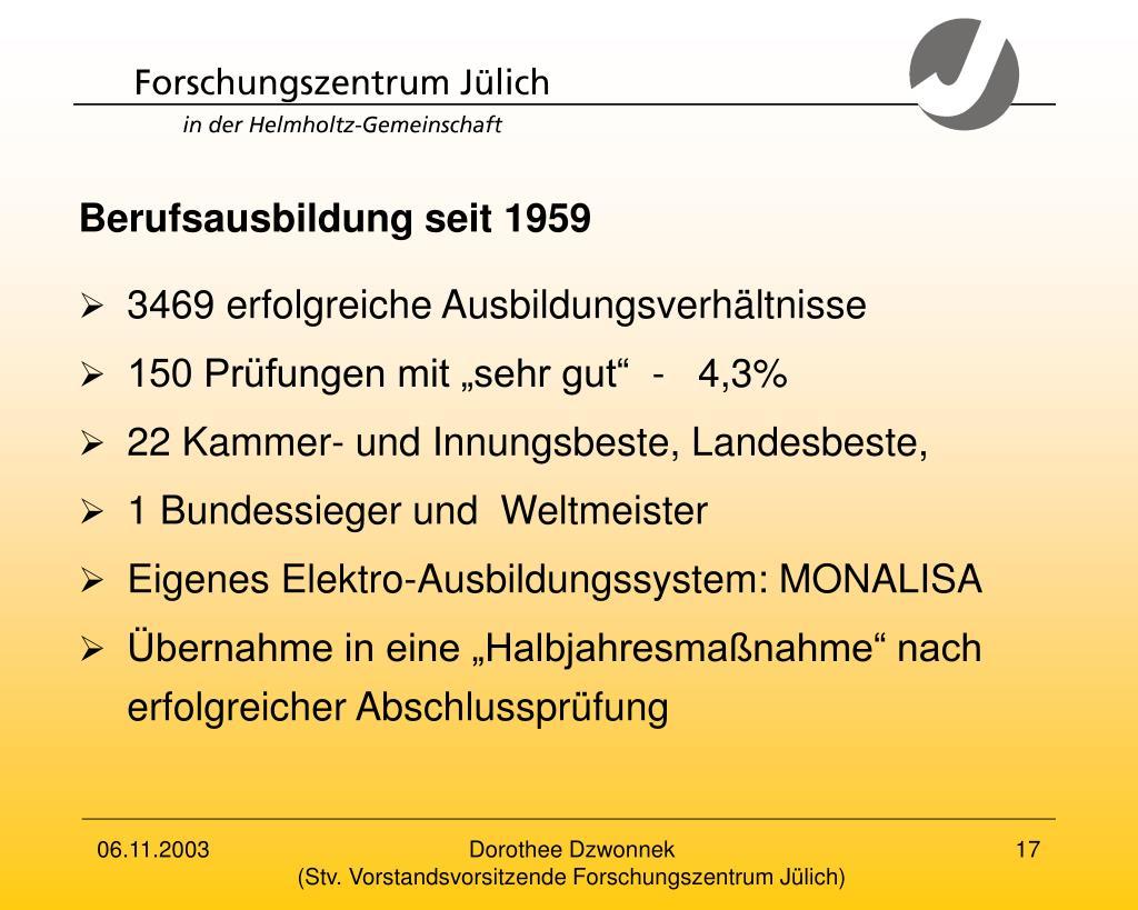 Berufsausbildung seit 1959