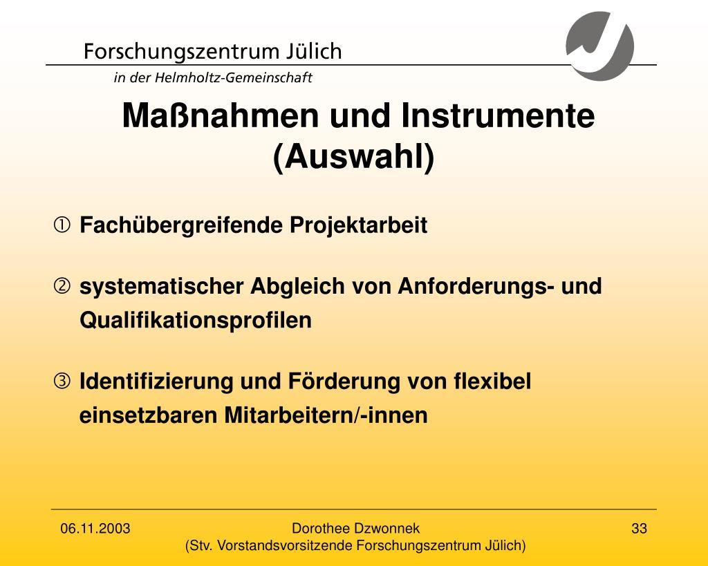 Maßnahmen und Instrumente