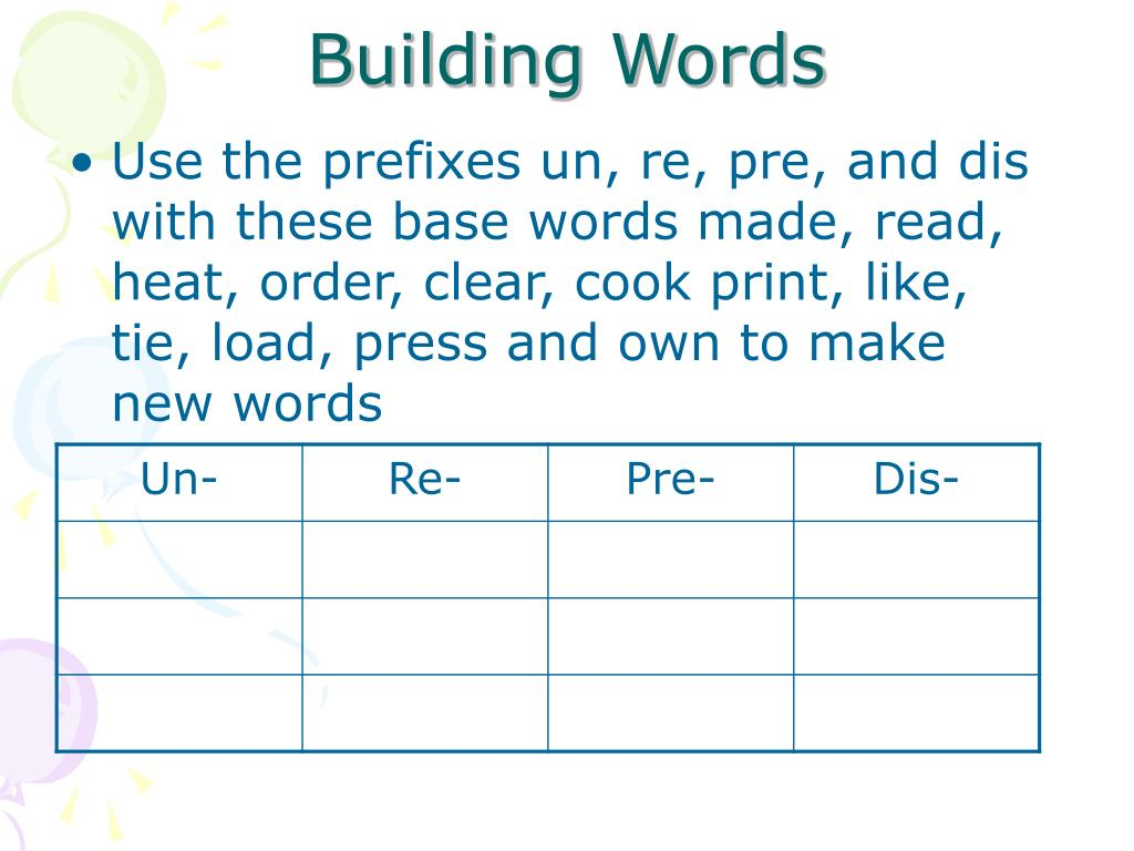 Use the prefixes un, re, pre, and dis with these base words made, read, heat, order, clear, cook print, like, tie, load, press and own to make new words