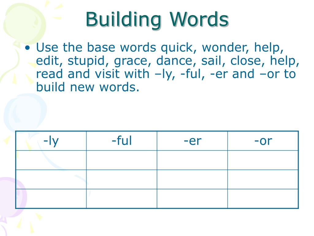 Use the base words quick, wonder, help, edit, stupid, grace, dance, sail, close, help, read and visit with –ly, -ful, -er and –or to build new words.