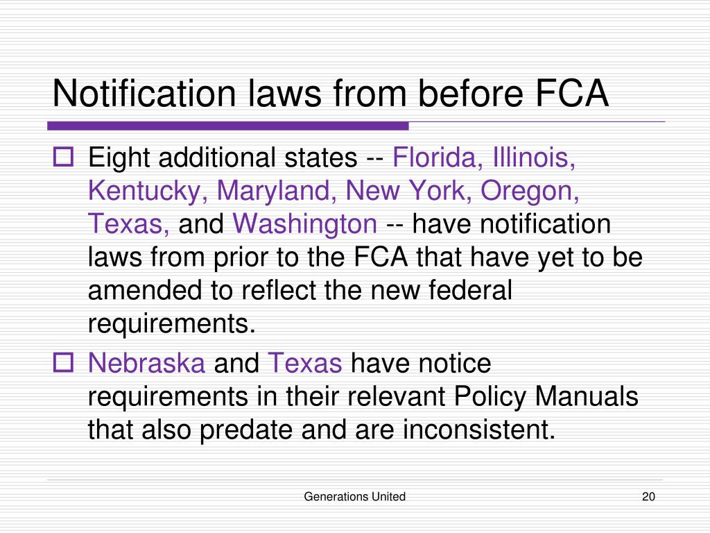 Notification laws from before FCA
