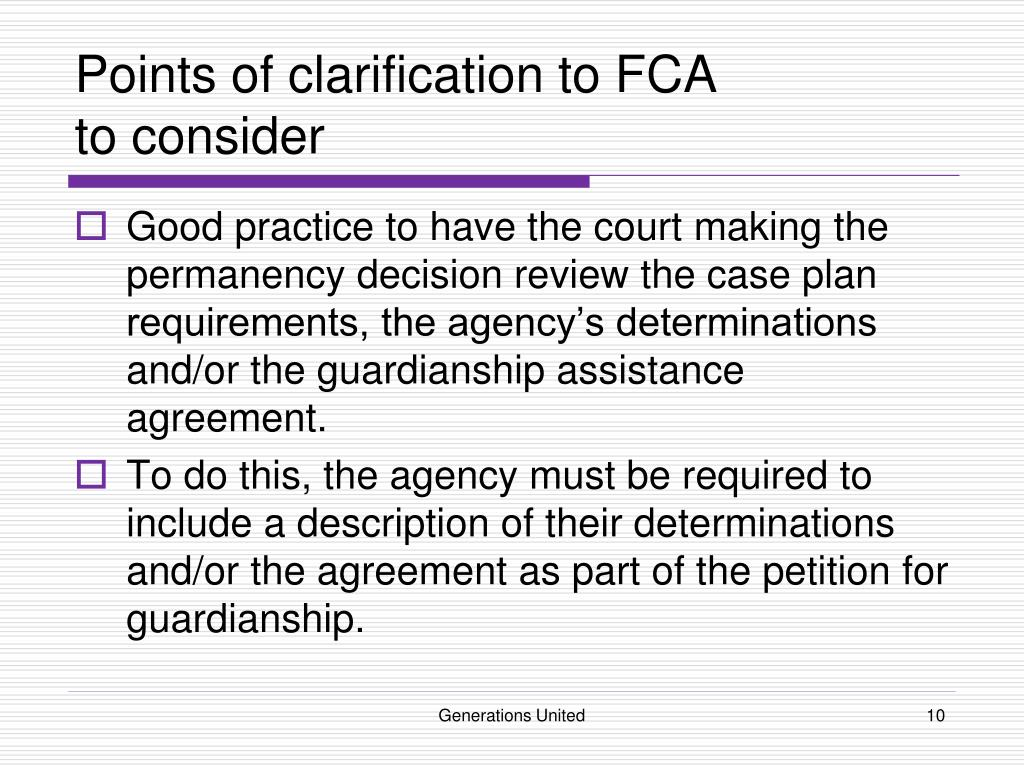 Points of clarification to FCA