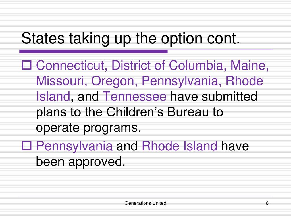 States taking up the option cont.
