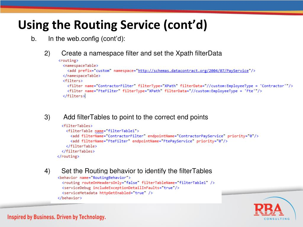 Using the Routing Service (cont'd)