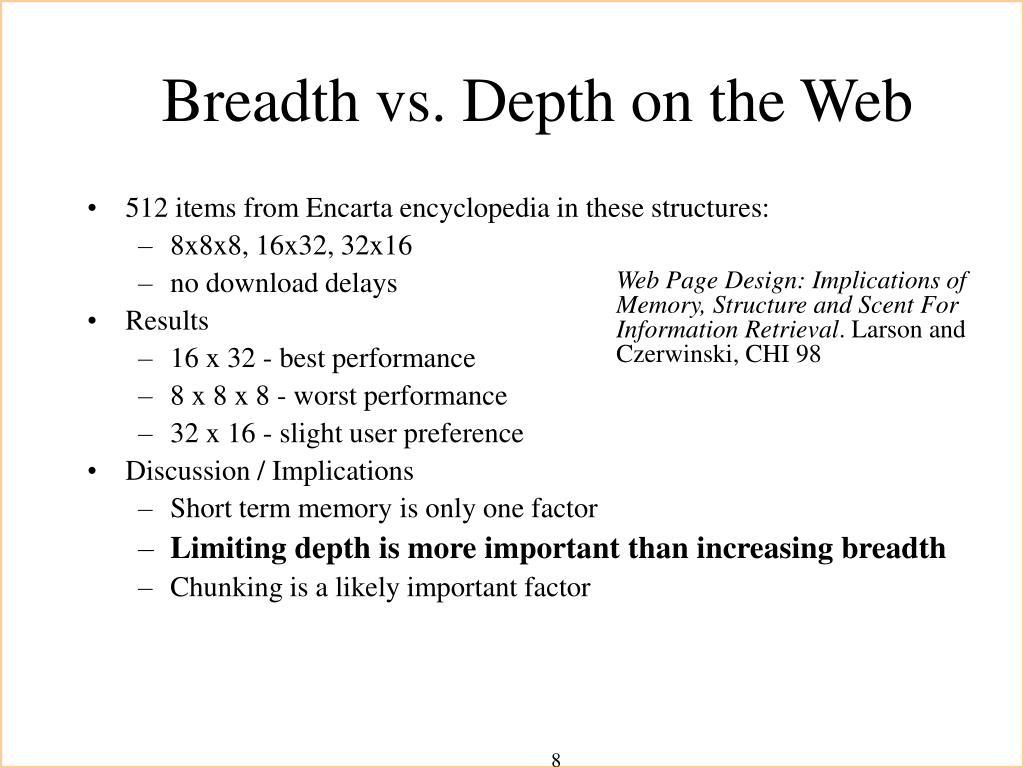 Breadth vs. Depth on the Web