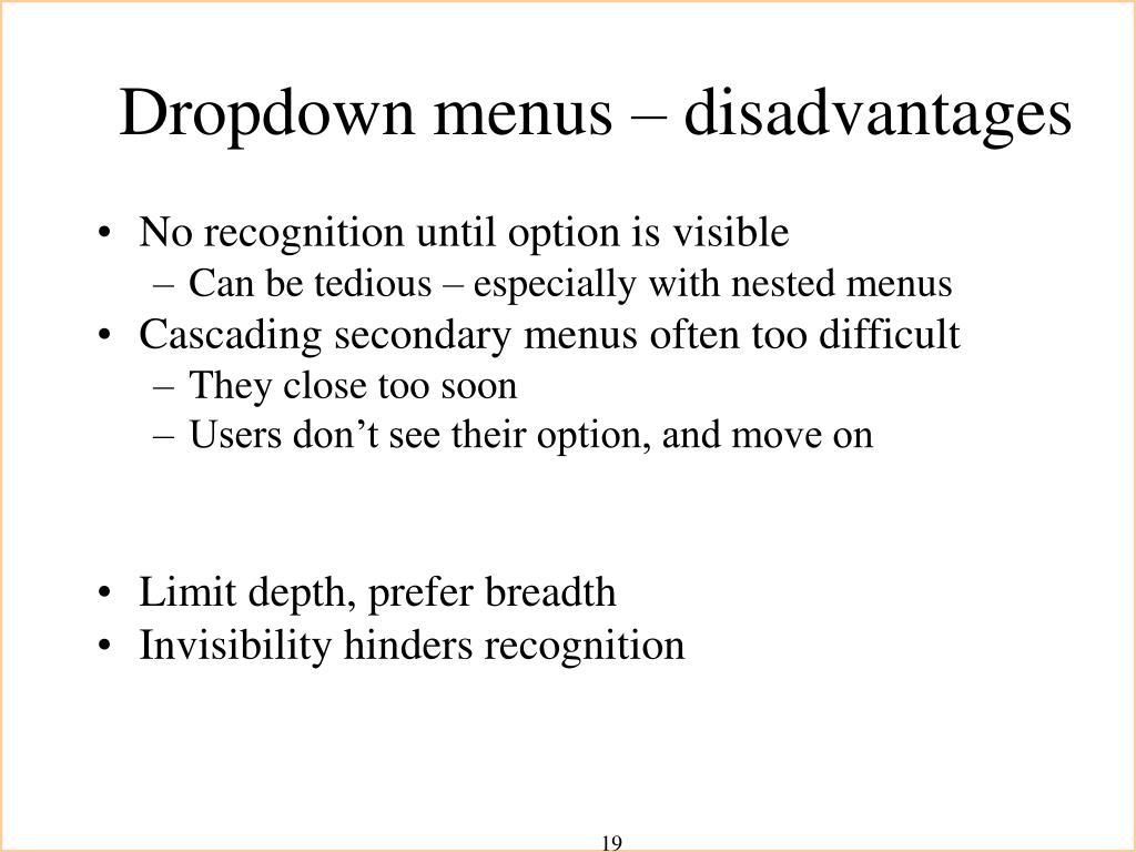 Dropdown menus – disadvantages