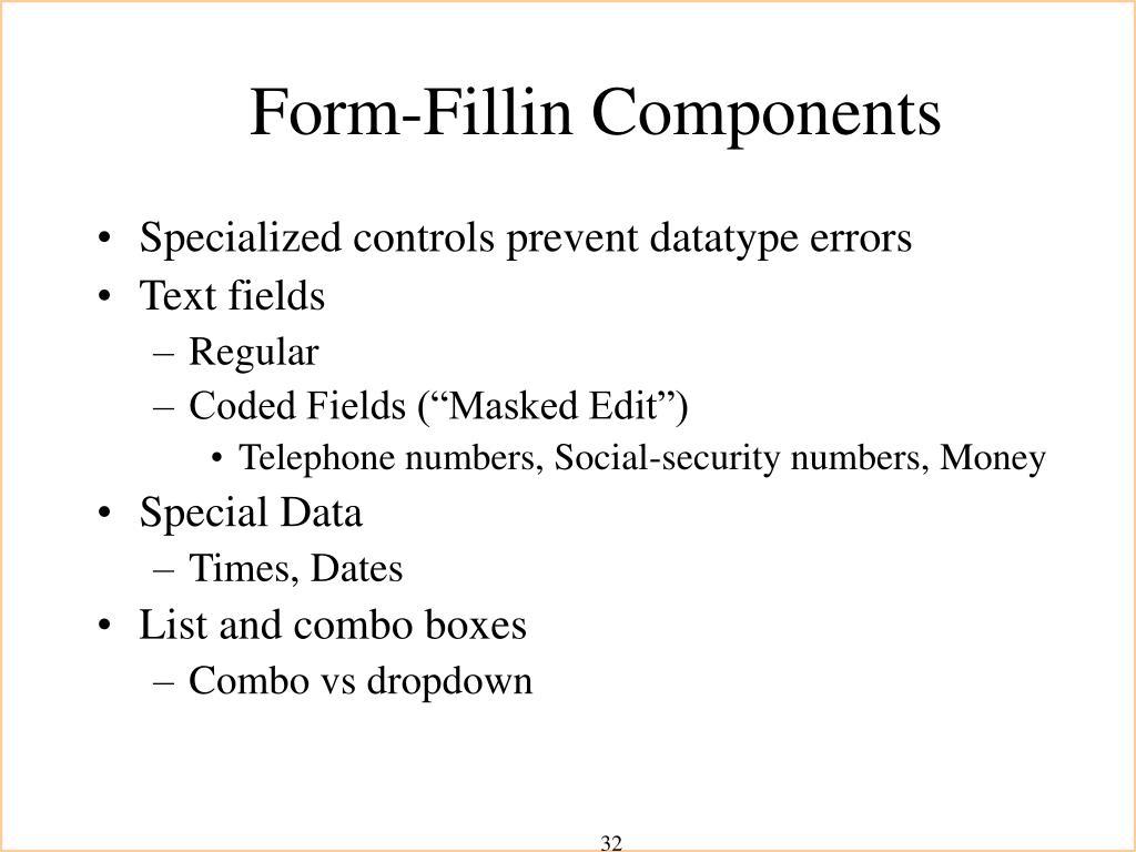 Form-Fillin Components