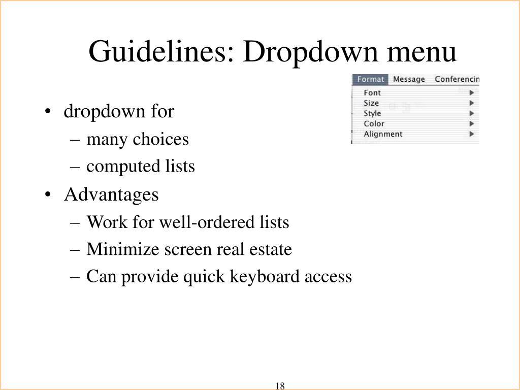 Guidelines: Dropdown menu