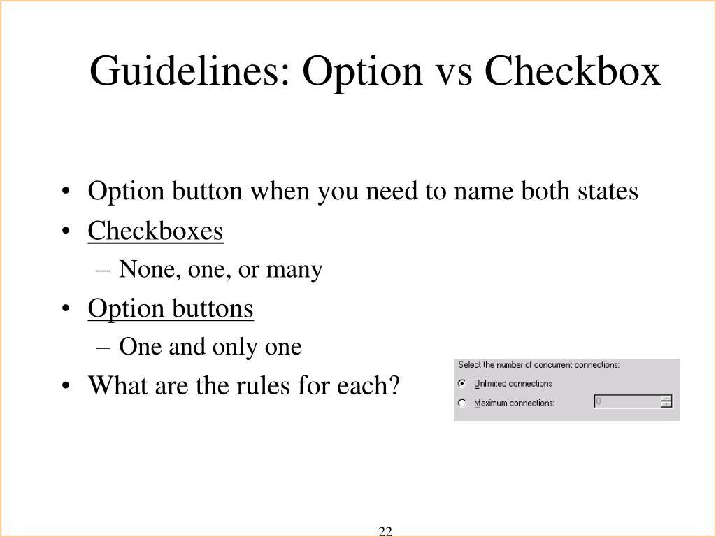 Guidelines: Option vs Checkbox