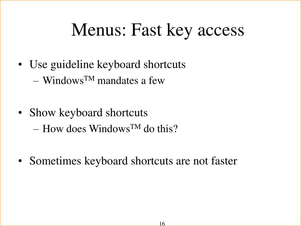 Menus: Fast key access