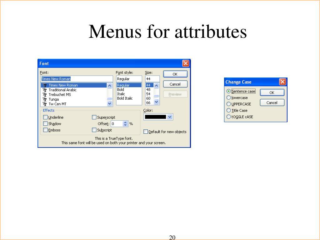 Menus for attributes