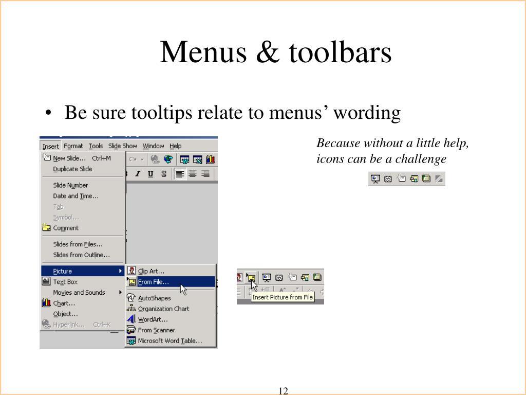 Menus & toolbars