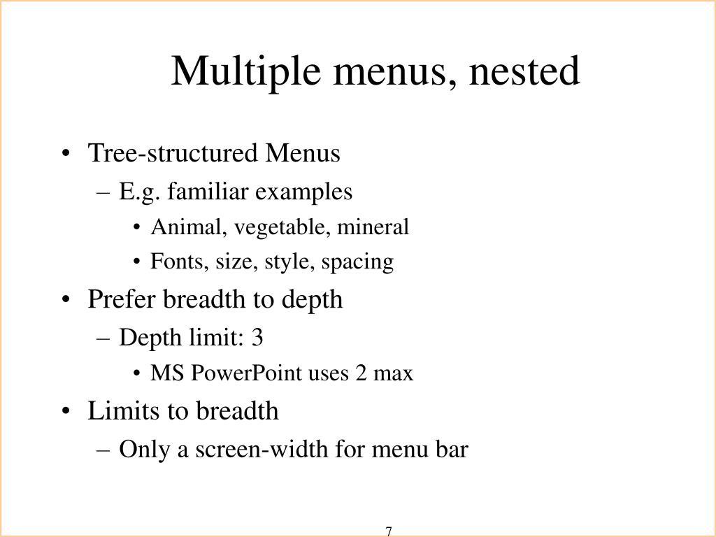 Multiple menus, nested