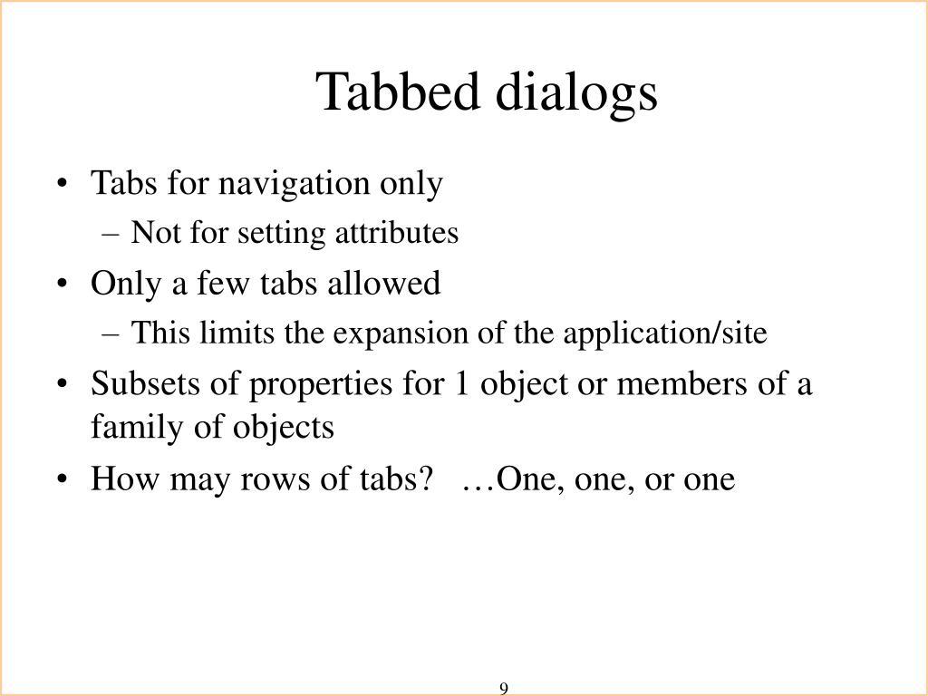 Tabbed dialogs