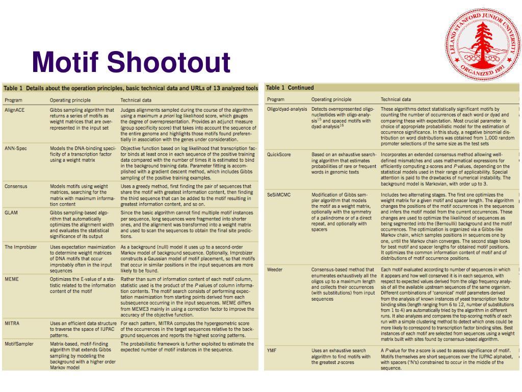 Motif Shootout