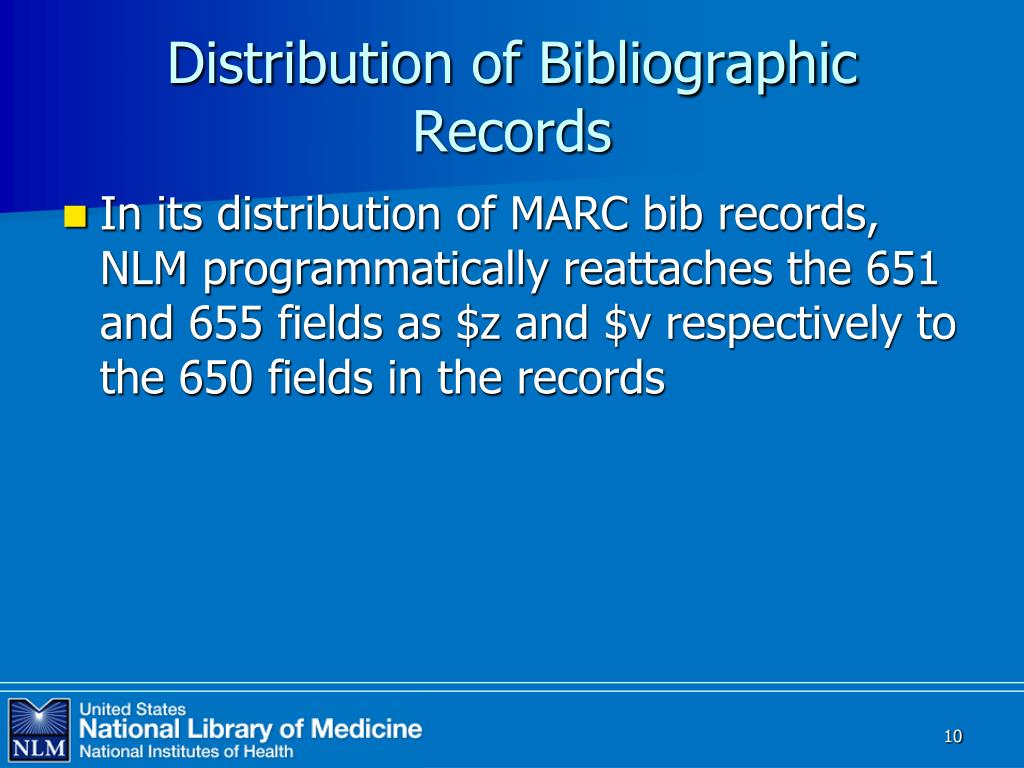 Distribution of Bibliographic Records