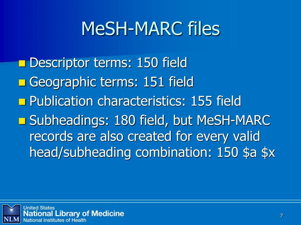 MeSH-MARC files