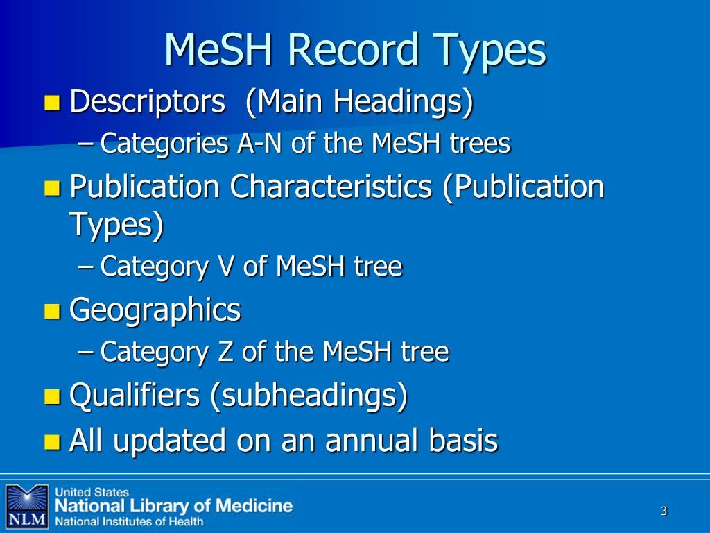 MeSH Record Types