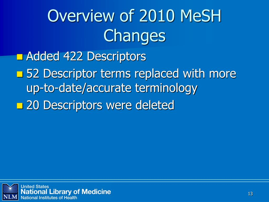 Overview of 2010 MeSH Changes
