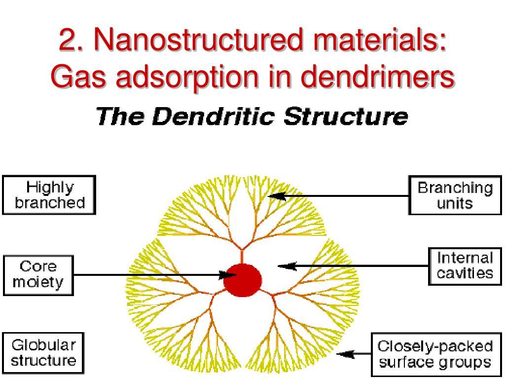 2. Nanostructured materials: Gas adsorption in dendrimers