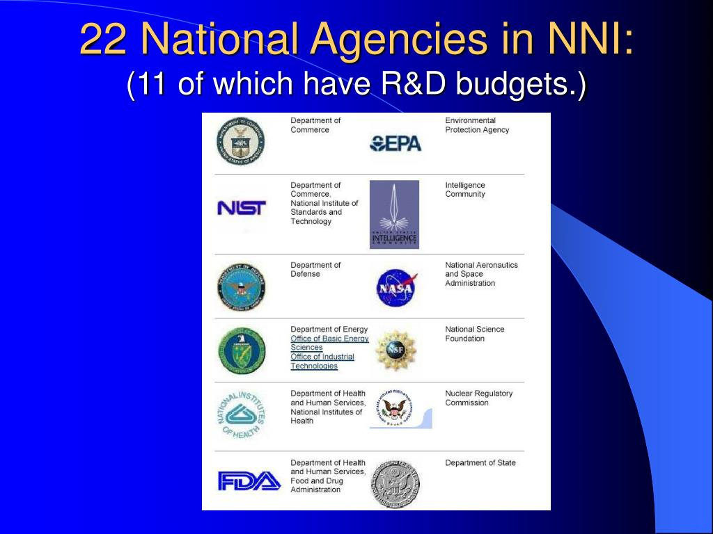 22 National Agencies in NNI: