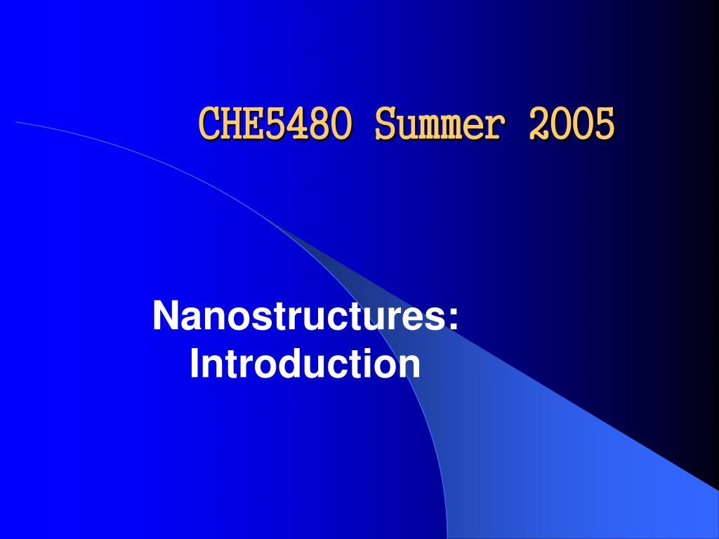 CHE5480 Summer 2005