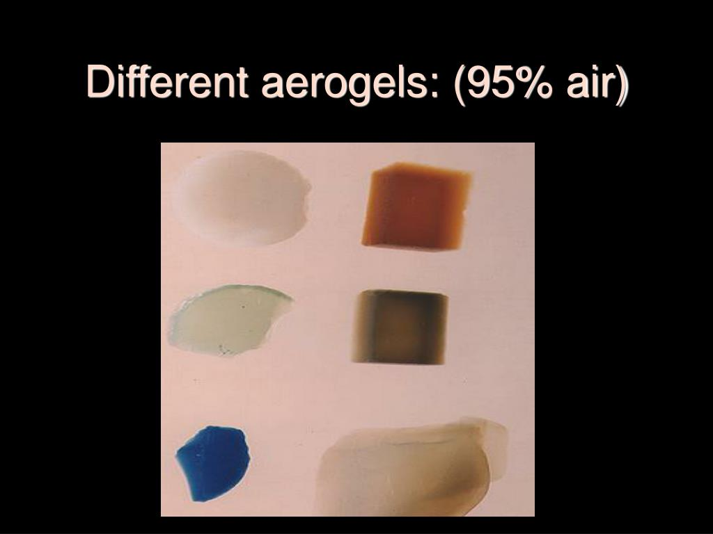 Different aerogels: (95% air)