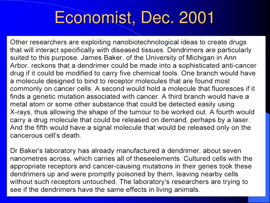 Economist, Dec. 2001