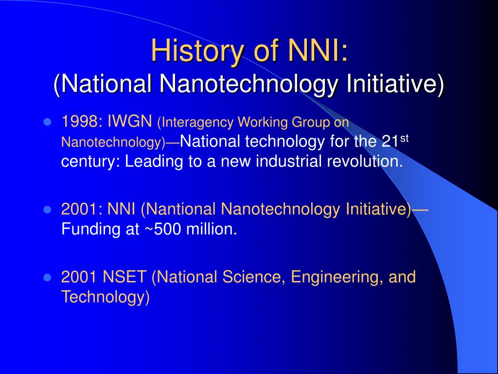 History of NNI: