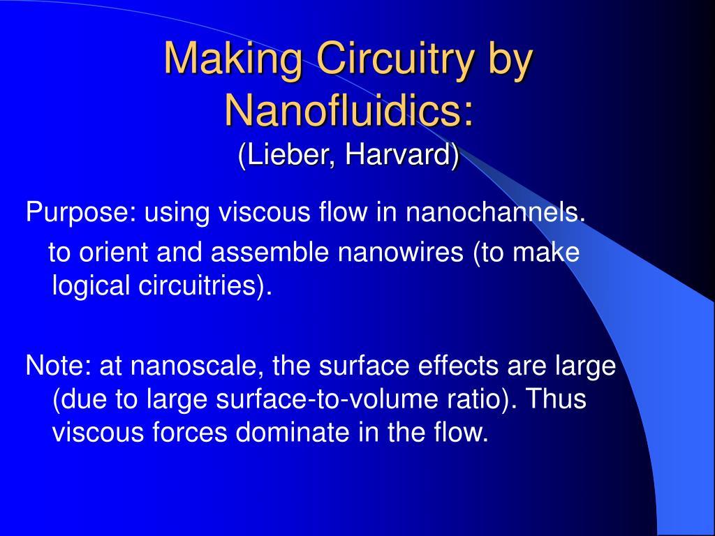 Making Circuitry by Nanofluidics: