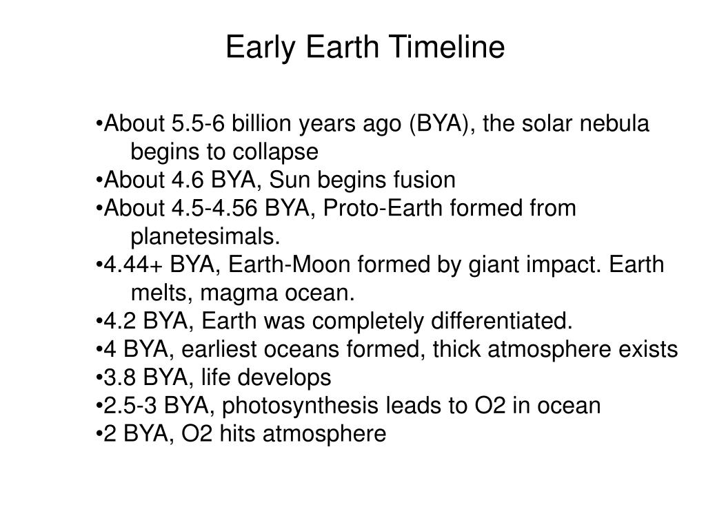 Early Earth Timeline
