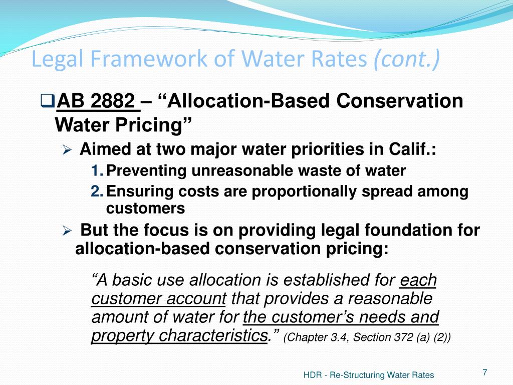 Legal Framework of Water Rates