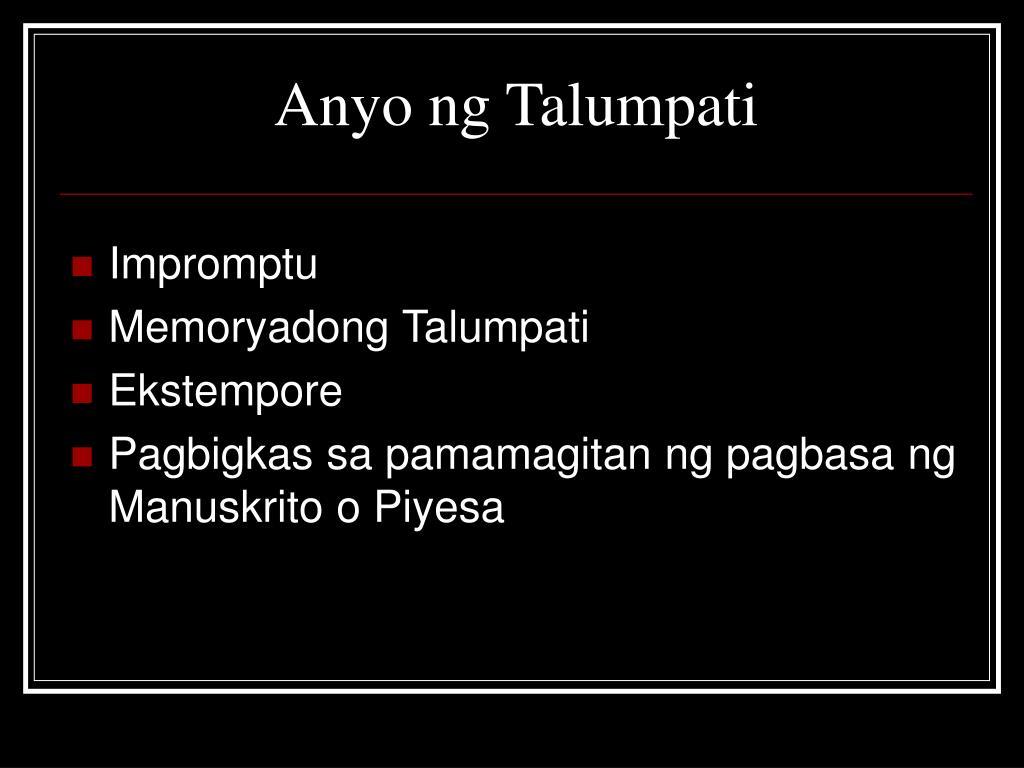 Anyo ng Talumpati