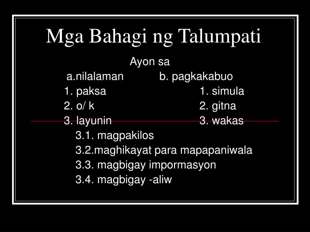 Mga Bahagi ng Talumpati