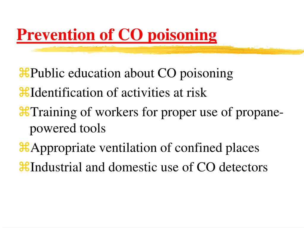 Prevention of CO poisoning