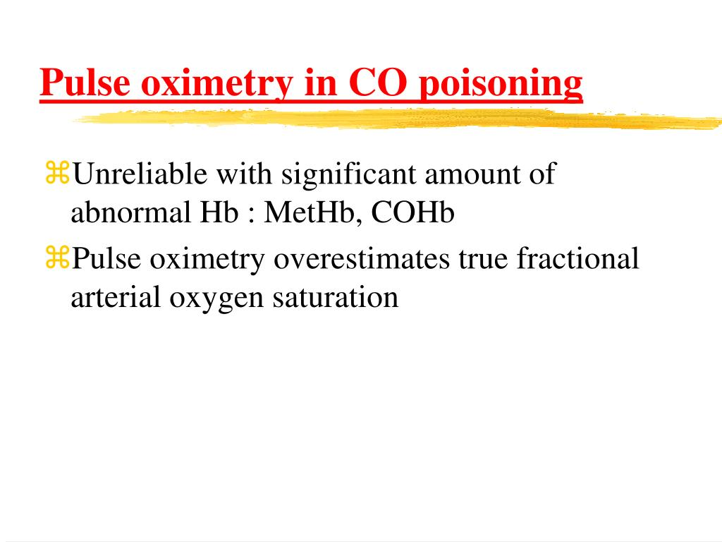 Pulse oximetry in CO poisoning