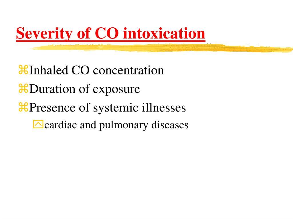 Severity of CO intoxication