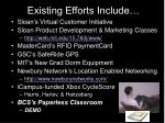 existing efforts include