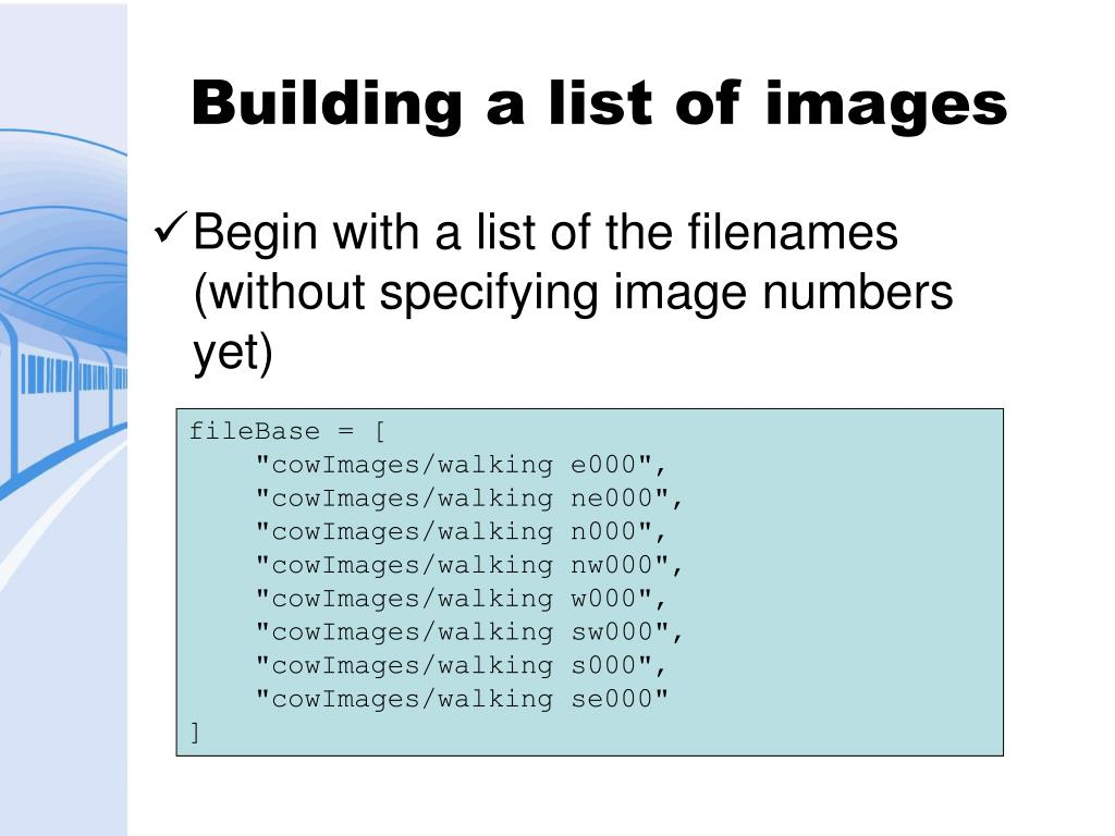 Building a list of images