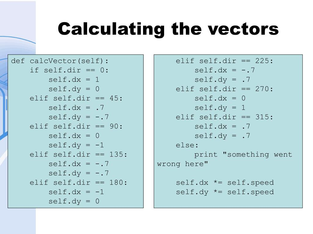 Calculating the vectors