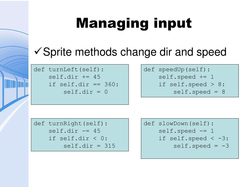 Managing input