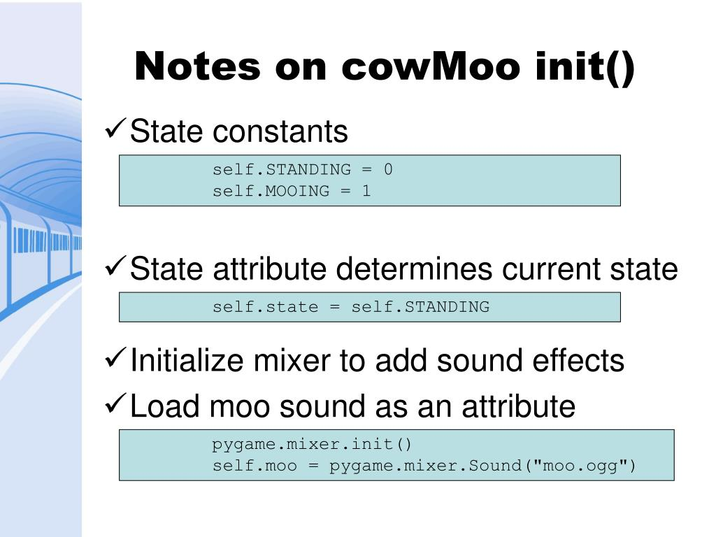Notes on cowMoo init()
