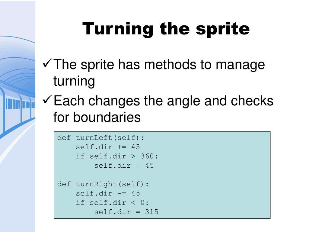 Turning the sprite
