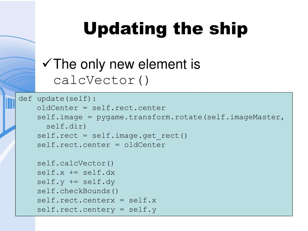 Updating the ship