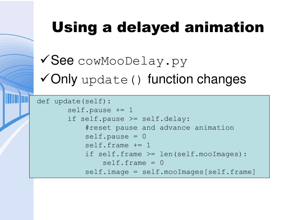 Using a delayed animation
