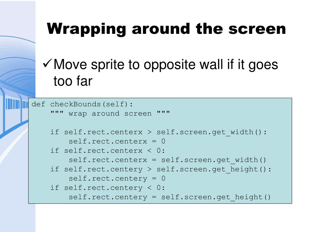 Wrapping around the screen
