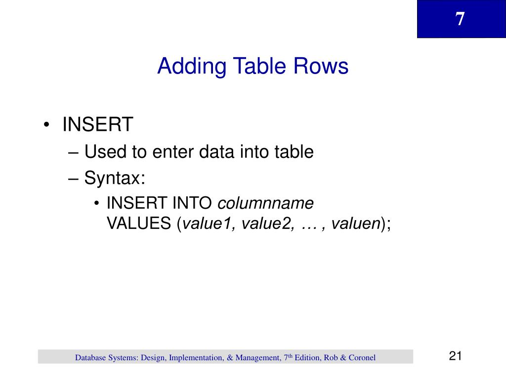 Adding Table Rows